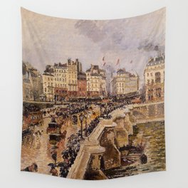 Camille Pissarro - The Pont-Neuf, Rainy Afternoon (First Series) Wall Tapestry