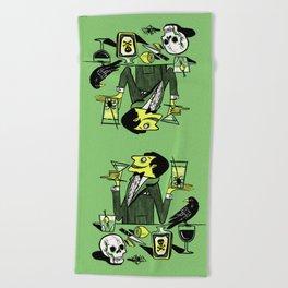 Drinks With The Mad Scientist Next Door Beach Towel