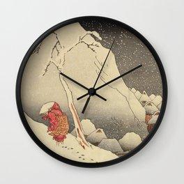 Nichiren in Snow at Tsukahara on Sado Island by Kuniyoshi, 1830 Wall Clock