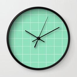 Graph Paper (White & Mint Pattern) Wall Clock