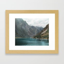 Village by the Lake & Mountains Framed Art Print