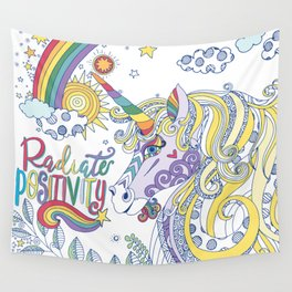Magical Rainbow Unicorn, Radiate Positivity, Be Kind Wall Tapestry
