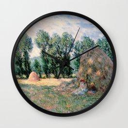 Haystacks by Claude Monet Wall Clock