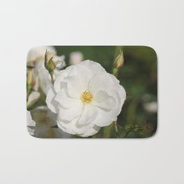 White Flowers and Buds by Reay of Light Photography Bath Mat