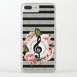 Treble Clef with Watercolor Roses Clear iPhone Case