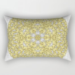 Bold gold butterfly mandala on gray butterflies background Rectangular Pillow