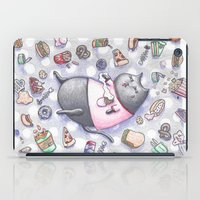junk food iPad Cases featuring Junk Food Coma Kitty by Frisky Fauna