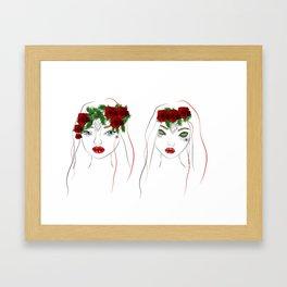 christmas girls Framed Art Print