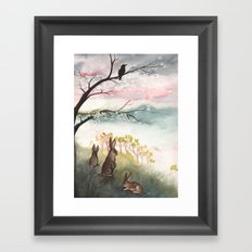 Three Rabbits and Plum Blossoms Framed Art Print