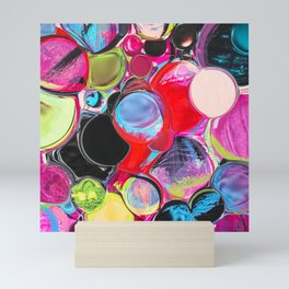 Digitally manipulated multicolored liquified mixed media abstract painting Mini Art Print