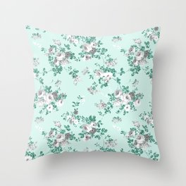 Country chic teal white gray green glitter floral Throw Pillow