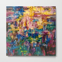 Abstract - Colorful World Palette Knife Wall Art Metal Print