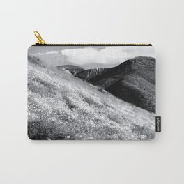 poppy flower field with mountain and cloudy sky background in black and white Carry-All Pouch