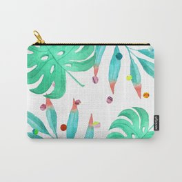 Tropical dots and leaves Carry-All Pouch