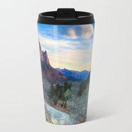 The Virgin River Flows Towards The Watchman at Sunset Travel Mug