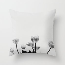 Black & White Tulips Throw Pillow