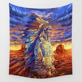 native american colorful portrait Wall Tapestry