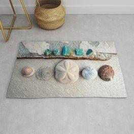 Seashells And Chrysocolla Stone  Rug