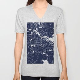 Amsterdam Navy Blue on White Street Map Unisex V-Neck