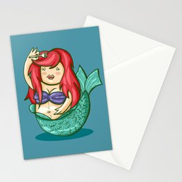 funny fat mermaid Stationery Cards
