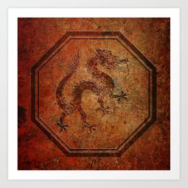 Distressed Chinese Dragon In Octagon Frame Art Print