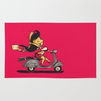 vespa Area & Throw Rugs featuring Vespa by Brão Barbosa