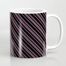 Eggplant Violet and Black Diagonal LTR Var Size Stripes Coffee Mug