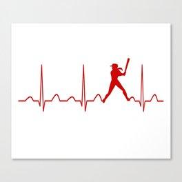 SOFTBALL WOMAN HEARTBEAT Canvas Print