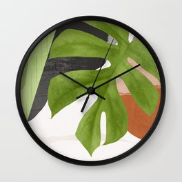 Abstract Art Tropical Leaf 12 Wall Clock