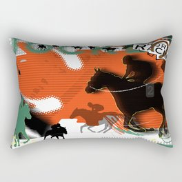Horse Racing Rectangular Pillow