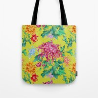 oriental Tote Bags featuring Oriental Flowers by Chicca Besso