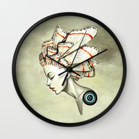 moth Wall Clocks featuring Moth 2 by Freeminds