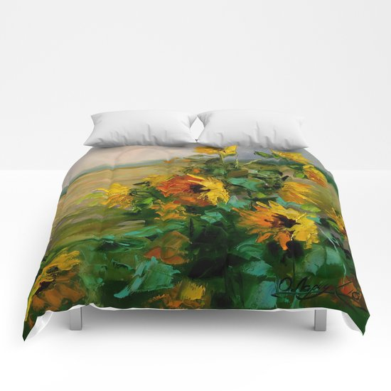 Sunflowers in a field Comforters