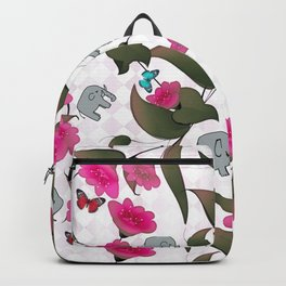Abstract neon pink green cute elephant floral Backpack