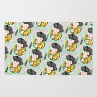 ramen Area & Throw Rugs featuring Ramen Cats Pattern by Cindy Suen