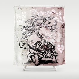 Turtle with a bonsai on the carapace Shower Curtain