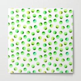 Green Polka Dots Metal Print