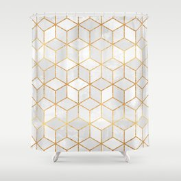 White Cubes Shower Curtain