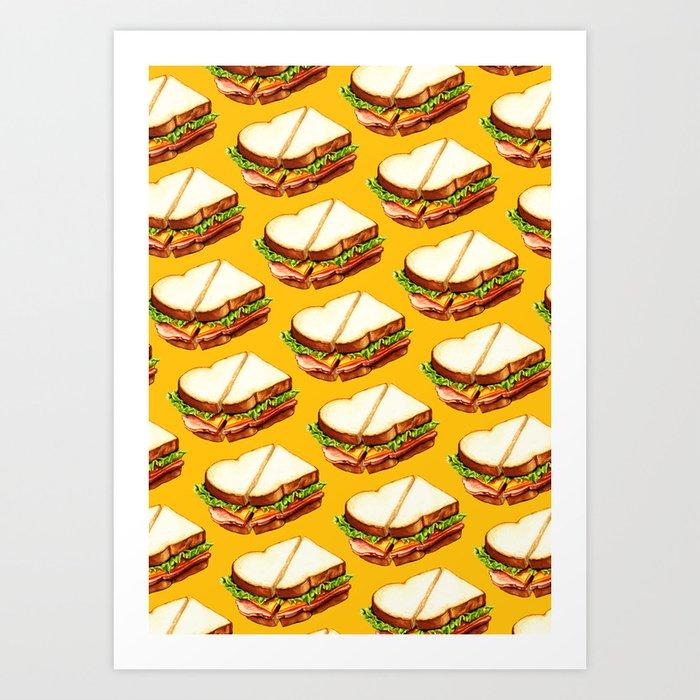 Ham Sandwich Pattern Art Print