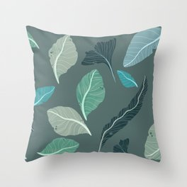 Green Blue and Teal Leaves Throw Pillow