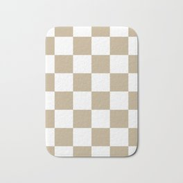 Large Checkered - White and Khaki Brown Bath Mat