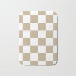 Large Checkered - White and Khaki Brown Bath Mat