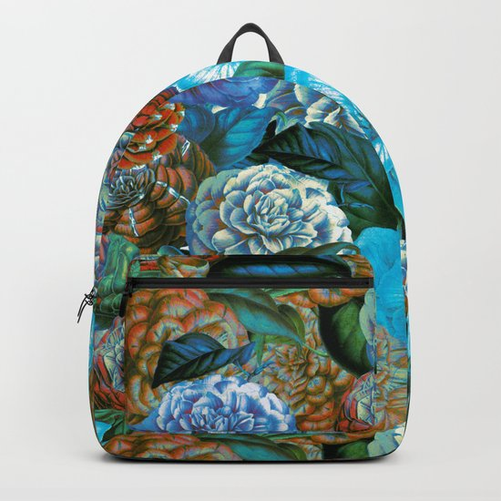 Vintage & Shabby - blue floral camellia flowers watercolor pattern Backpack