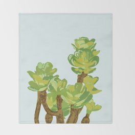 Portylacaria Afra Succulent Blue and Green Throw Blanket