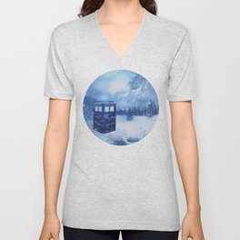 Tardis in Winterland Unisex V-Neck