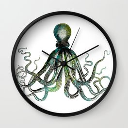 Octopus marine life watercolor art Wall Clock