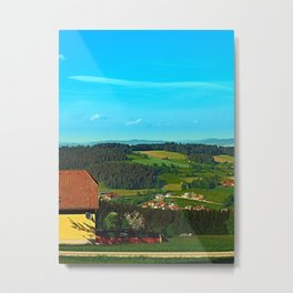 Small farm with built-in panoramic view Metal Print