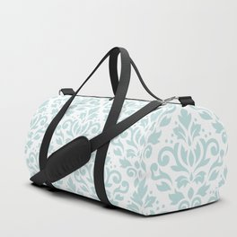 Scroll Damask Lg Pattern Duck Egg Blue on White Duffle Bag