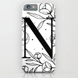 Black Letter N Monogram / Initial Botanical Illustration iPhone Case