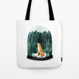 Snow Globe Fox Tote Bag